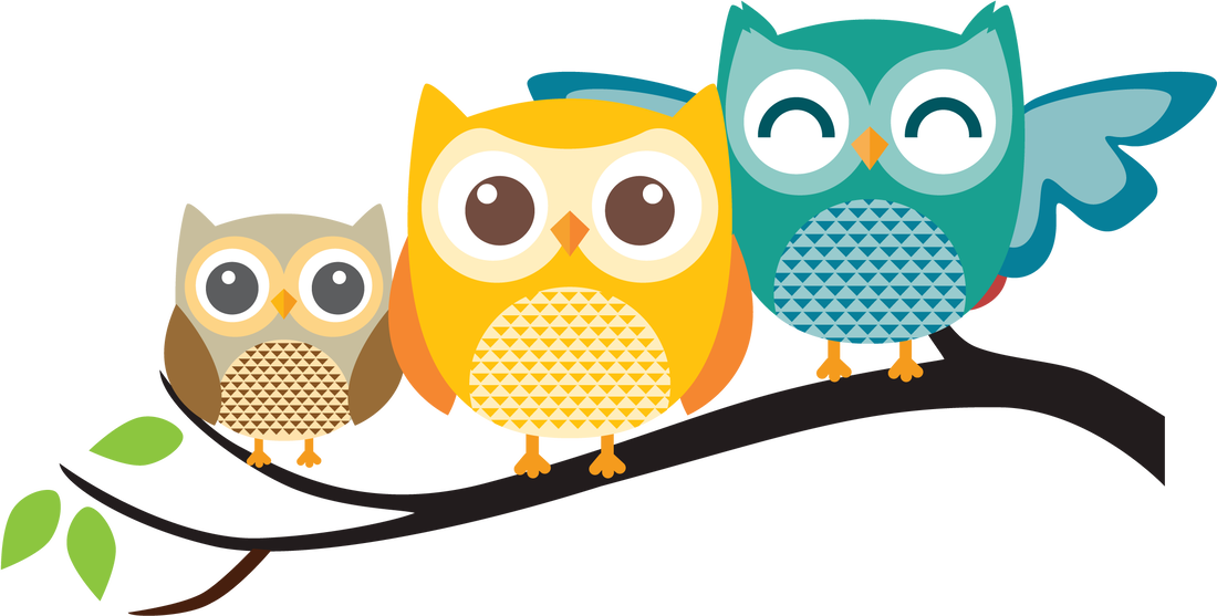 Cartoon of owl family on a branch